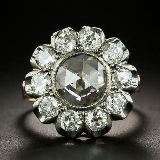 Victorian Inspired 2.07 Carat Rose-Cut Diamond Halo Ring - GIA - 2