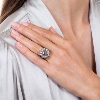 Victorian Inspired 2.07 Carat Rose-Cut Diamond Halo Ring - GIA