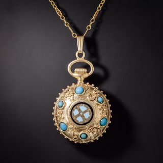 """Victorian Inspired Enamel """"Faux Watch"""" Pendant Necklace  - 0"""