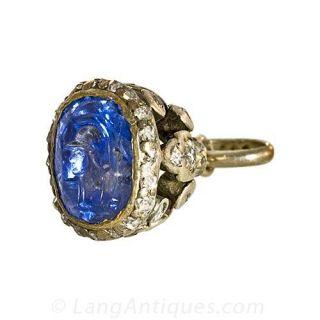 Victorian Intaglio Sapphire Fob