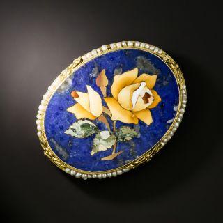 Victorian Lapis Lazuli Pietra Dura Flower Brooch - 1