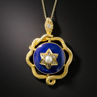Victorian Lapis Snake Necklace  - 2