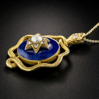 Victorian Lapis Snake Necklace