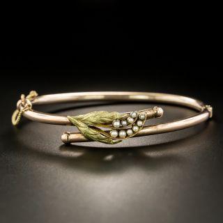 Victorian Leaf Motif Pearl Bangle Bracelet - 3