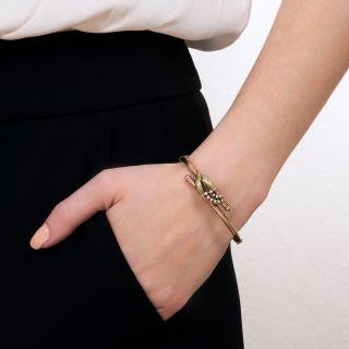 Victorian Leaf Motif Pearl Bangle Bracelet