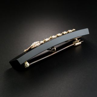 Victorian Lily of the Valley Onyx Seed Pearl Pin