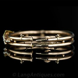 Victorian Lily of the Valley Seed Pearl Bangle Bracelet
