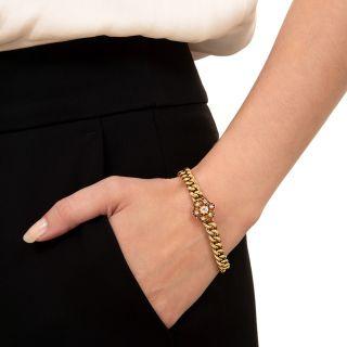Victorian Link Diamond Cluster Bracelet