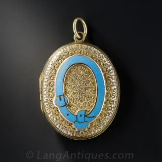 Victorian Locket with Enamel Buckle Motif (Order of the Garter) - 1