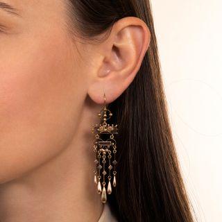 Victorian Long Dangle Fringe Earrings