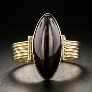 Victorian Marquise Cabochon Garnet Ring - 2