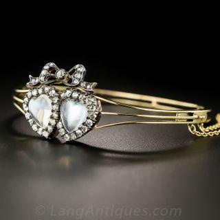 Victorian Moonstone and Diamond Bangle Bracelet