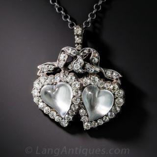 Victorian Moonstone and Diamond Heart Pendant