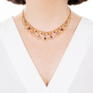 Victorian Multi-Gemstone Swag Necklace