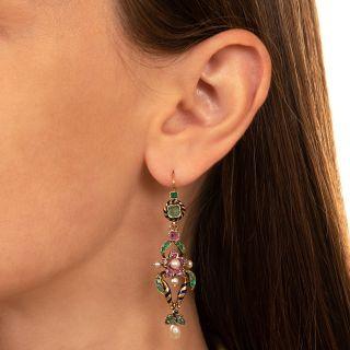 Victorian Multi-Stone and Enamel Dangle Earrings