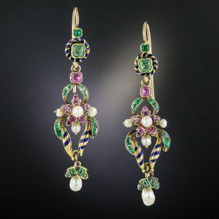 Victorian Multi-Stone and Enamel Dangle Earrings - 2