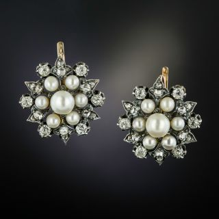 Victorian Natural Pearl and Diamond Cluster Earrings - 2