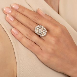 Victorian Natural Pearl And Diamond Dinner Ring