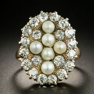 Victorian Natural Pearl And Diamond Dinner Ring - 2