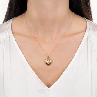 Victorian Natural Pearl and Diamond Heart Locket Pendant