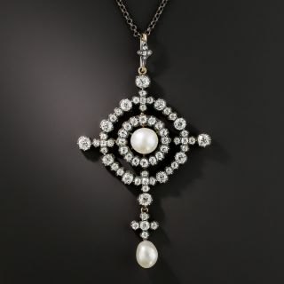 Victorian Natural Pearl and Diamond Brooch/Pendant - GIA - 1