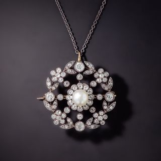 Victorian Natural Pearl And Diamond Pendant/Brooch - 0