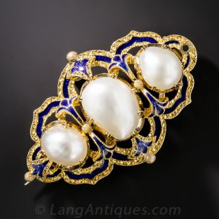Victorian Natural Pearl and Enamel Antique Brooch