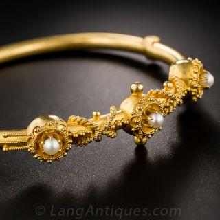 Victorian Seed Pearl Bangle Bracelet