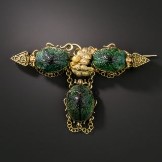 Victorian Natural Scarab Earring and Pin Set