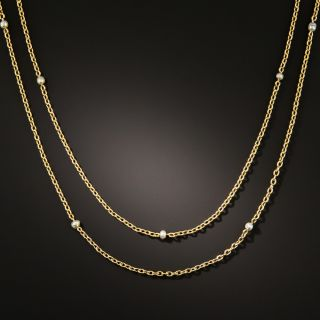 Victorian Natural Seed Pearl Station Chain - 2