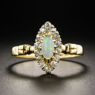 Victorian Navette Opal and Diamond Halo Ring - 1