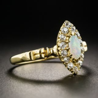 Victorian Navette Opal and Diamond Halo Ring