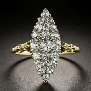 Victorian Navette-Shaped Diamond Cluster Ring - 2