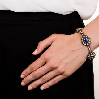 Victorian No-Heat Burma and Ceylon Sapphire and Diamond Bracelet