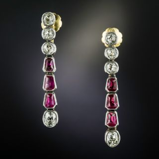 Victorian No-Heat Burmese Ruby and Diamond Dangle Earrings - 1
