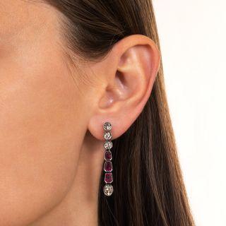 Victorian No-Heat Burmese Ruby and Diamond Dangle Earrings