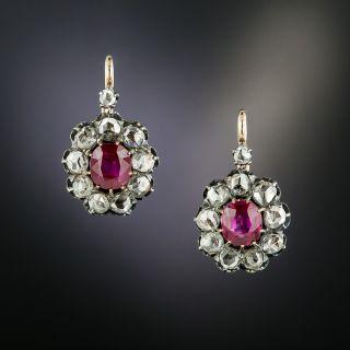 Victorian No-Heat Burmese Ruby and Diamond Earrings - GIA - 2