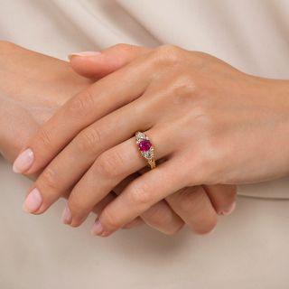 Victorian No-Heat Burmese Ruby and Diamond Three-Stone Ring