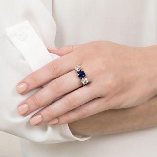 Victorian No-Heat Pailin Sapphire and Diamond Three-Stone Ring - AGL