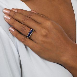 Victorian No-Heat Sapphire Five-Stone and Diamond Ring