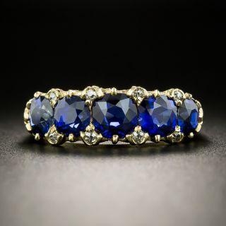 Victorian No-Heat Sapphire Five-Stone Ring - 2