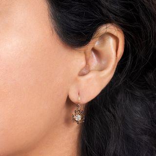 Victorian Old Mine-Cut Diamond Drop Earrings
