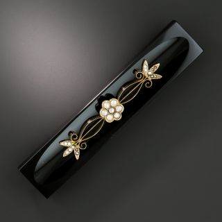 Victorian Onyx and Pearl Bar Brooch