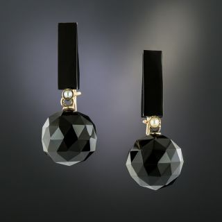 Victorian Onyx and Pearl Earrings - 2