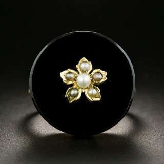 Victorian Onyx and Pearl Ring - 2