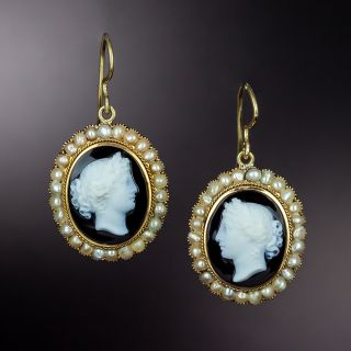 Victorian Onyx and Seed Pearl Cameo Earrings - 1