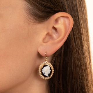 Victorian Onyx and Seed Pearl Cameo Earrings