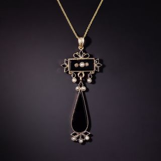 Victorian Onyx and Seed Pearl Lavalier Pendant - 3