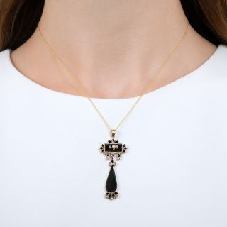 Victorian Onyx and Seed Pearl Lavalier Pendant