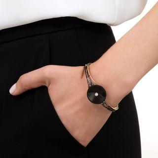 Victorian Onyx Circlet and Diamond Bracelet